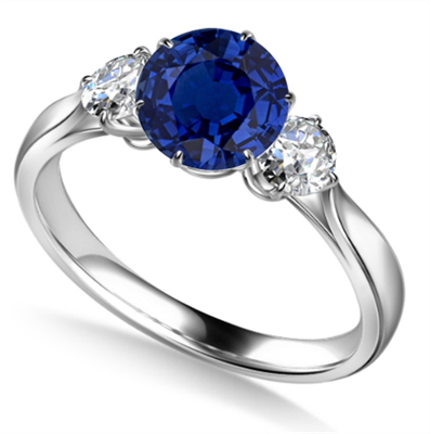 Elegant Blue Sapphire & Diamond Trilogy Ring DHAN700BSC Image