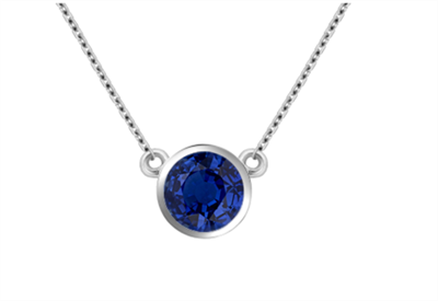 Classic Round Blue Sapphire Solitaire Pendant DHAN702BS Image