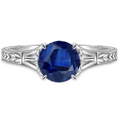 Unique Single Blue Sapphire Vintage Filgree Style Ring DHAN704BS Image