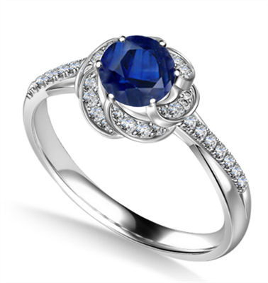 Floral Halo Blue Sapphire Infinity Ring DHAN705BS Image