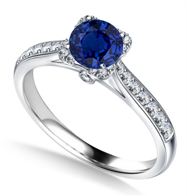 Modern Round Blue Sapphire & Diamond Square Halo Ring DHAN706BS Image