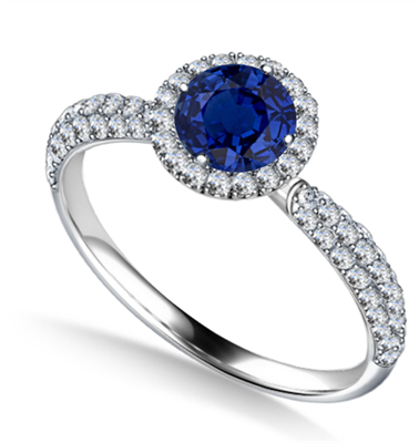 Round Blue Sapphire Single Halo Engagement Ring DHAN707BS Image