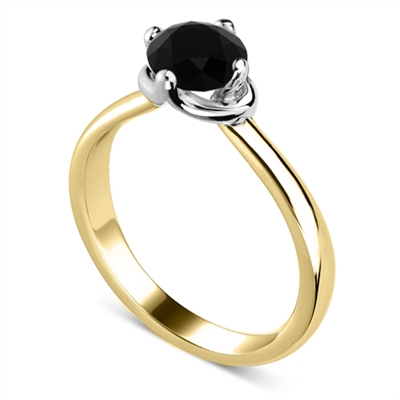 Round Black Diamond Solitaire Ring DHDOMR12257BLK Image