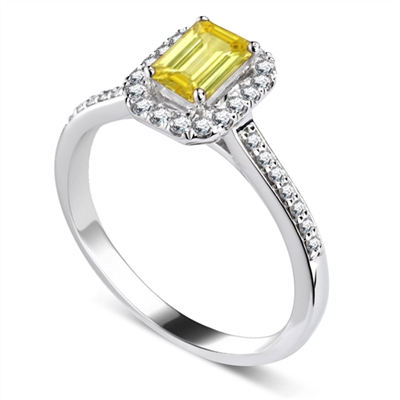 Fancy Yellow Emerald Diamond Halo Shoulder Set Ring DHDOMRC2018BYD Image