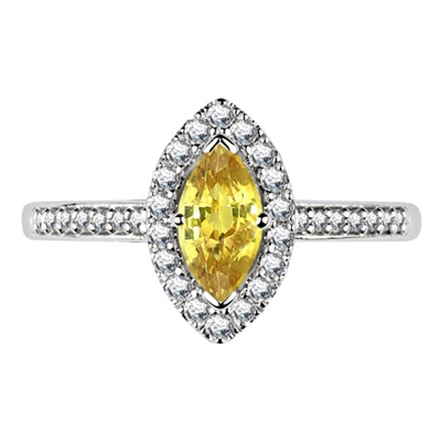 Fancy Yellow Marquise Diamond Halo Shoulder Set Ring DHDOMRC2019BYD Image
