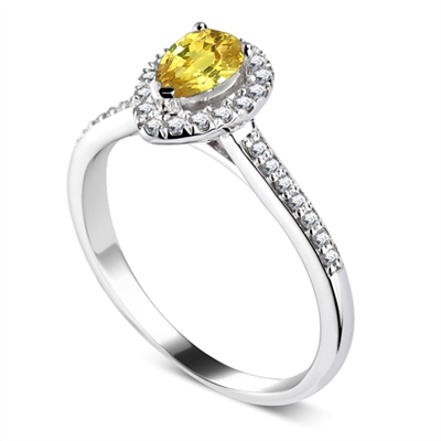Fancy Yellow Pear Diamond Single Halo Shoulder Set Ring DHDOMRC2020BYD Image