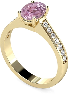 Oval Pink Sapphire & Diamond Shoulder Set Ring DHMTSS717PSC Image