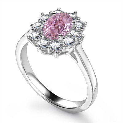 Oval Pink Sapphire & Diamond Halo Ring DHRX3007PSC Image