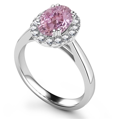 Oval Pink Sapphire & Diamond Halo Ring DHRX3075PSC Image