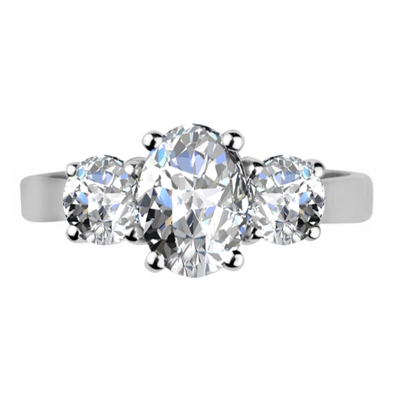 Oval & Round Diamond Trilogy Ring DHDOMR3266 Image