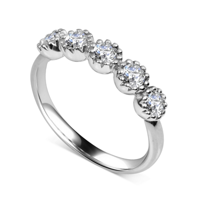 5 Stone Round Diamond Half Eternity Ring DHDOMHET20165 Image