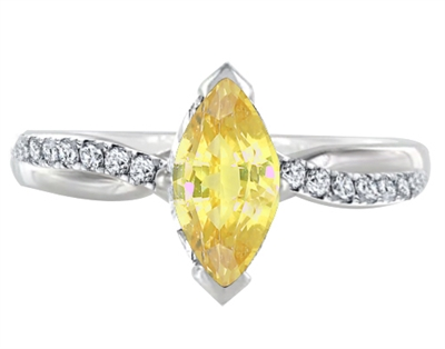 Fancy Yellow Marquise Diamond Shoulder Set Ring DHDOMR11218MRQYD Image