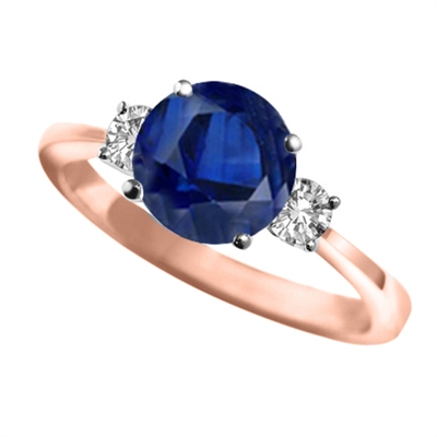 Elegant Blue Sapphire & Diamond Trilogy Ring DHAN06RDBSC Image