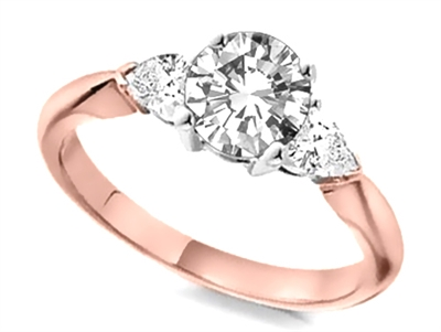 Elegant Round & Pear Diamond Trilogy Ring DHTRI3001 Image