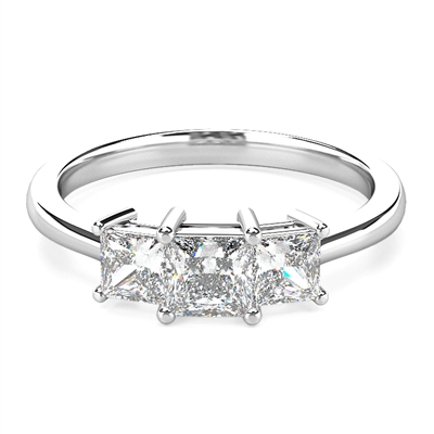 Tapered Band Princess Diamond Trilogy Ring DHDOMR3142 Image