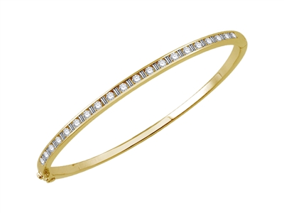 1.00CT VS/EF Elegant Round/Baguette Diamond Set Bangle DHJXBG0384 Image