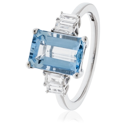 Emerald Shaped Aquamarine & Diamond Ring DHLMJSL7460AQ Image