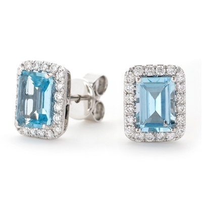 Emerald Shaped Aquamarine & Diamond Cluster Earrings DHLMJSL4321AQ Image