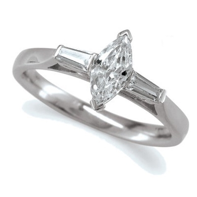 Modern Marquise & Baguette Diamond Trilogy Ring DHMT03368 Image