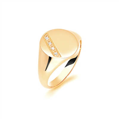 9ct Yellow Gold, Round Diamond Gents Signet Ring, Size S DHAGSOD1/SSIG002 Image