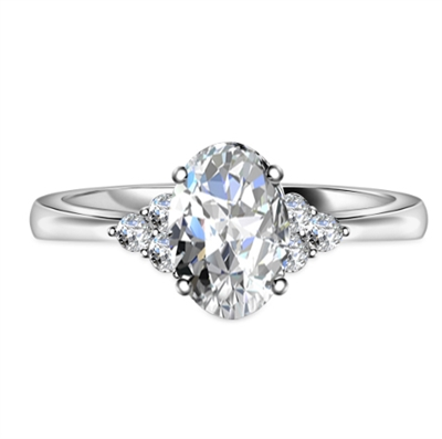 Oval Diamond Side Stone Cluster Ring DHAN900OV Image