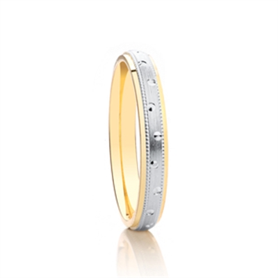 3mm Two Tone Patterned Wedding Ring DHAGAR504 Image