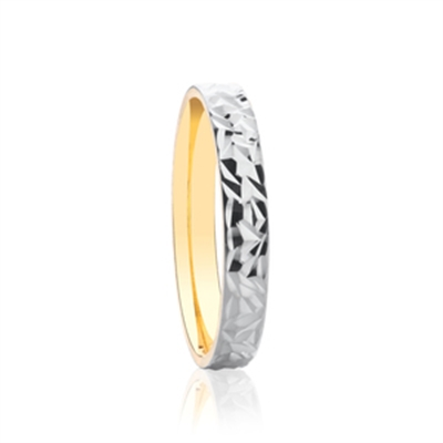 3mm Two Tone Patterned Wedding Ring DHAGAR505 Image
