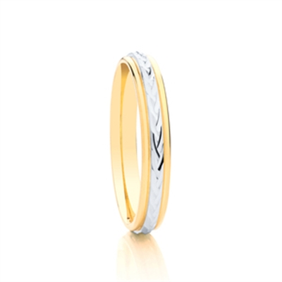 3mm Two Tone Patterned Wedding Ring DHAGAR506 Image