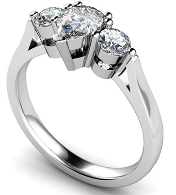 Stylish Pear & Round Diamond Trilogy Ring DHMT03336 Image