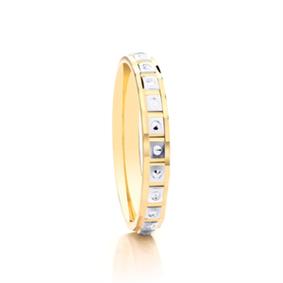 3mm Two Tone Patterned Wedding Ring DHAGAR508 Image