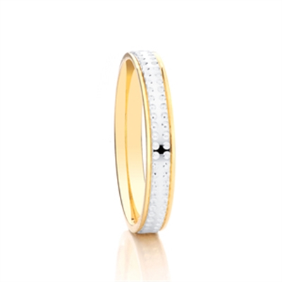 3mm Two Tone Patterned Wedding Ring DHAGAR509 Image