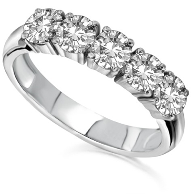 5 Stone Round Diamond Half Eternity Ring DHDOMHET137 Image