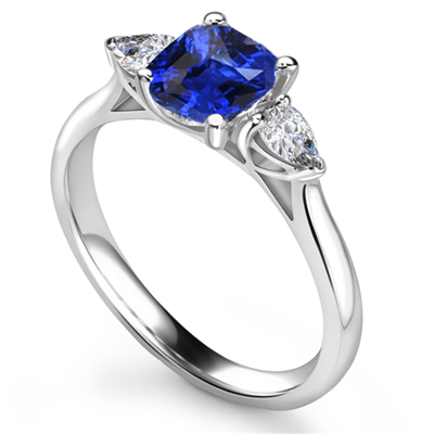 Blue Sapphire Cushion & Pear Diamond Trilogy Ring DHRX4913CUBSC Image