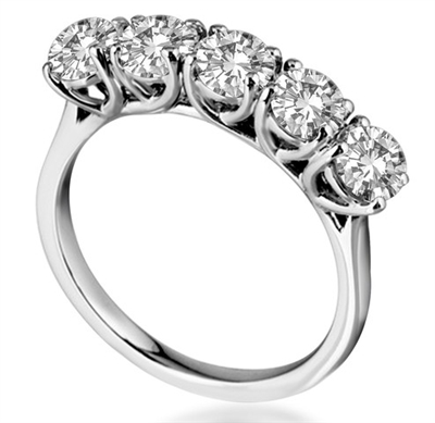 5 Stone Round Diamond Half Eternity Ring DHHET1002 Image