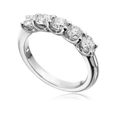 5 Stone Round Diamond Half Eternity Ring DHHET1017 Image