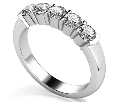 5 Stone Round Diamond Half Eternity Ring DHMT05097 Image