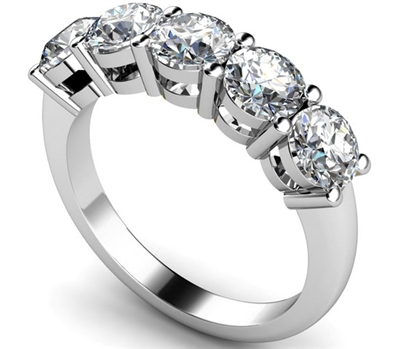5 Stone Round Diamond Half Eternity Ring DHMT05102 Image