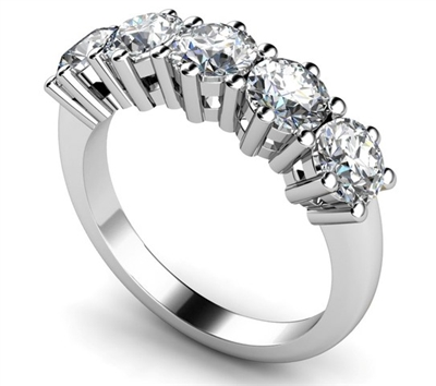 5 Stone Round Diamond Half Eternity Ring DHMT05103 Image