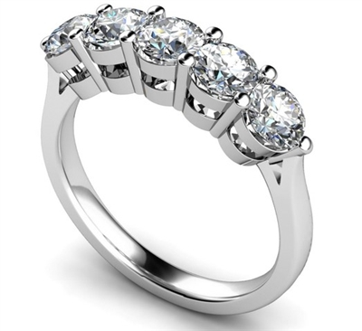 5 Stone Round Diamond Half Eternity Ring DHMT05112 Image