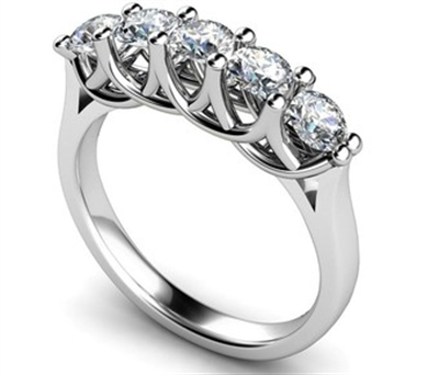 5 Stone Round Diamond Half Eternity Ring DHMT05116 Image