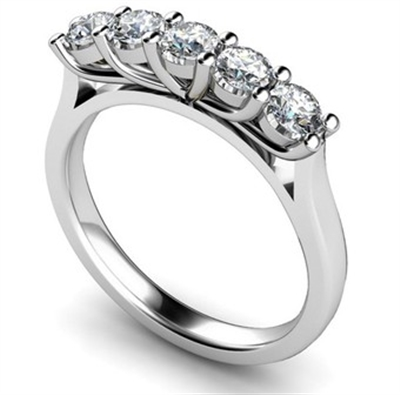 5 Stone Round Diamond Half Eternity Ring DHMT05126 Image