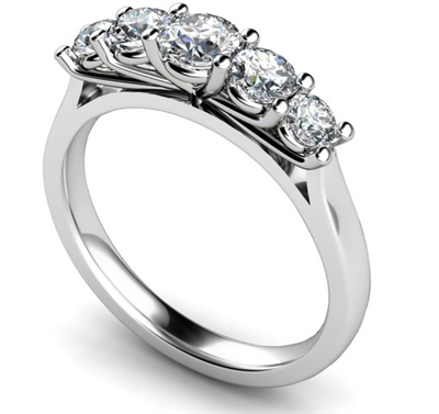 5 Stone Round Diamond Half Eternity Ring DHMT05129 Image