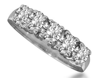 5 Stone Round Diamond Half Eternity Ring ER060 Image