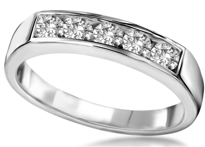 5 Stone Round Diamond Half Eternity Ring DHHET1021 Image