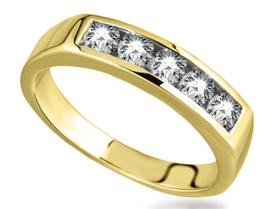 5 Stone Round Diamond Half Eternity Ring DHHET106 Image