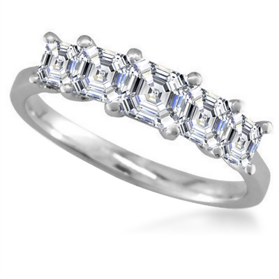 5 Stone Asscher Diamond Half Eternity Ring DHMT05128AS Image