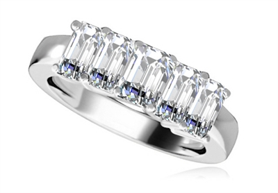 5 Stone Emerald Diamond Half Eternity Ring DHRZ0208 Image