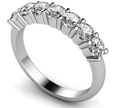 7 Stone Round Diamond Half Eternity Ring DHMT07053 Image