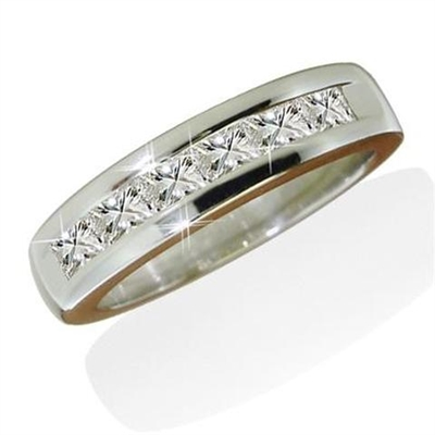 7 Stone Princess Diamond Half Eternity Ring ER321 Image