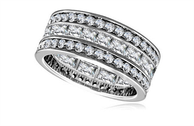 Round & Princess Diamond Full Eternity Ring DHRZ0172  Image